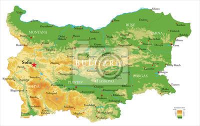 Naklejka Bułgarska mapa fizyczna