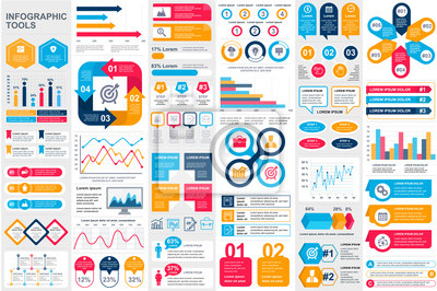 Naklejka Bundle infographic elements data visualization vector design template. Can be used for steps, business processes, workflow, diagram, flowchart concept, timeline, marketing icons, info graphics.