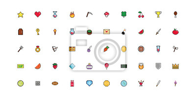 Naklejka bundle of 8 bits pixelated style icons