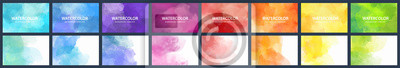 Naklejka Bundle set of vector colorful watercolor backgrounds for business card or flyer template