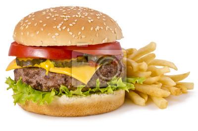 Naklejka Burger i frytkami