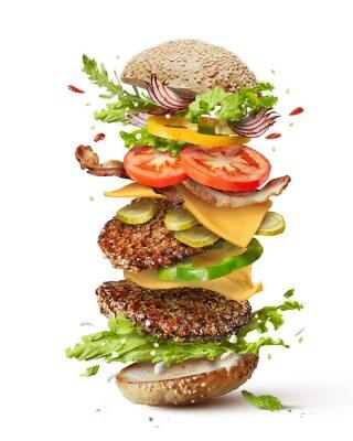 Naklejka Burger z latających składników