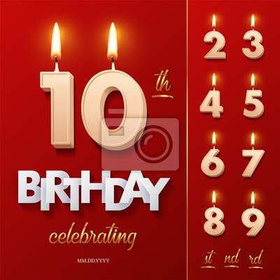 Naklejka Burning Birthday candle in the form of number 10 figure and Happy Birthday celebrating text with numbers set isolated on red background. Vector Birthday invitation template.