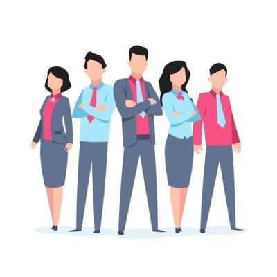 Naklejka Business characters team work. Office people corporate employee cartoon teamwork communication. Flat business team vector illustration