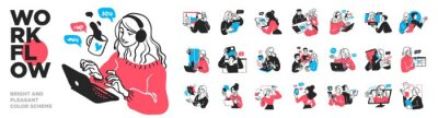 Naklejka Business Concept illustrations. Mega set. Collection of scenes with men and women taking part in business activities. Vector illustration
