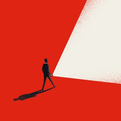 Naklejka Business leader vector concept with businessman holding flashlight and leading way forward.