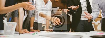 Naklejka business people team meeting in modern office design planning ideas concept