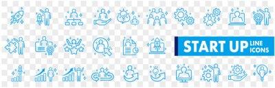 Naklejka Business Startup Management Teamwork strategy Employee line  icons set
