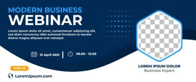 Naklejka Business webinar horizontal banner design. Modern banner design with dark blue and white background color and place for the photo.