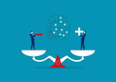 Naklejka businessman holding positive and negative thinking  concept vector illustration