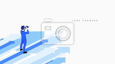 Naklejka Businessman with binocular stand over arrows. Conceptual vector research and looking forward metaphor. Isometric business illustration