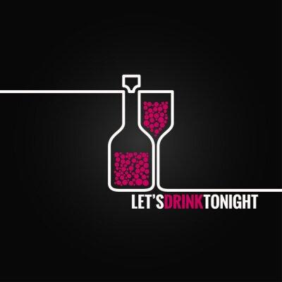 Naklejka butelka wina szkło wzór tła linii 8 eps