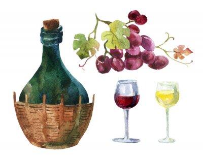 Naklejka Butelki z winorośli