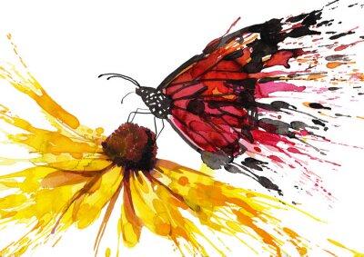 Naklejka Butterfly on the flower