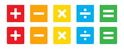 Naklejka Calculator vector key isolated on white background. Addition, subtraction. Mathematical symbols icon. Calculator, math icon. Vector pictogram. Math symbols icon set.