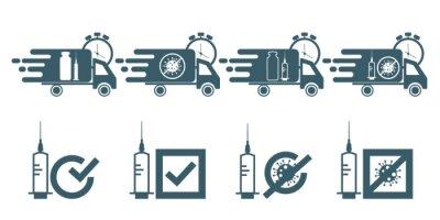 Call for vaccine use. Covid vaccine delivery.Vaccine covid-19 use icon. Flat vector illustration.
