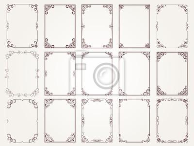 Naklejka Calligraphic frames. Borders corners ornate frames for certificate floral classic vector designs collection. Illustration of filigree border card, floral rectangular frame