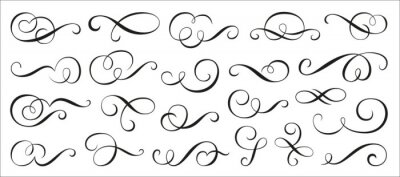 Naklejka Calligraphic swirl ornament, line style flourishes set. Filigree ornamental curls. Decorative design elements for menu, vignette, certificate, diploma, wedding card, invatation, outline text divider