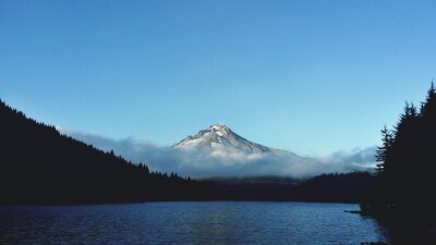 Naklejka Calm Lake Against Mountain Peak