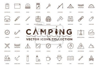 Camping, Wakacje i Podróże Minimalne Płaskie Linia Wektor Ikonę Zestawu. Śpiwór, czapka, matchbox, wędki, namiot, most linowy, plecak, topór, lornetka, kompas, ognisko, jelenie, góry, mapa.
