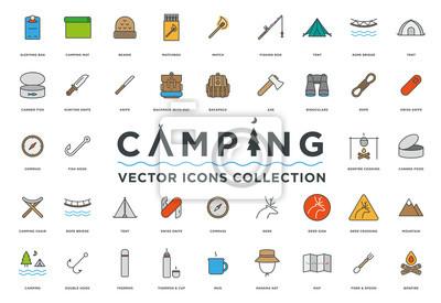 Camping, Wakacje i Podróże Minimalny Kolor Płaskich Linii Vector Icon Set. Śpiwór, czapka, matchbox, wędki, namiot, most linowy, plecak, topór, lornetka, kompas, ognisko, jelenie, góry, mapa.
