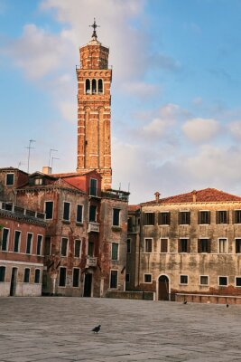 Campo San Anzolo and the bell tower of the St, Stephan Church. Venice, Italy