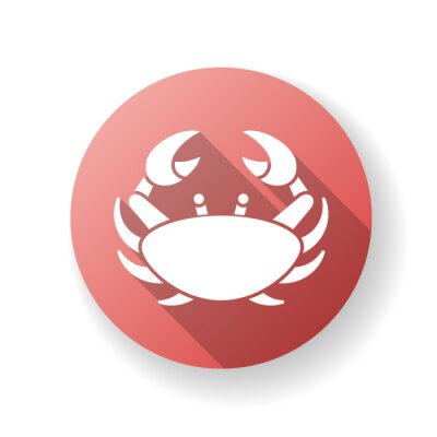 Cancer zodiac sign red flat design long shadow glyph icon. Astrological crab. Horoscope birth sign. Tropical crustacean, sea life, aquatic animal with claws. Silhouette RGB color illustration