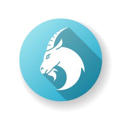 Capricorn zodiac sign blue flat design long shadow glyph icon. Astrology, horoscope goat. Domestic cattle, farmland livestock. Herbivore farm animal with horns silhouette RGB color illustration