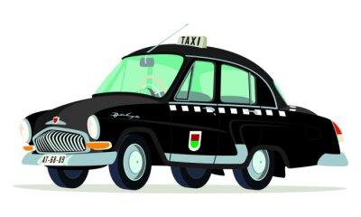 Naklejka Caricatura GAZ Volga M21 taksówki Praga - Checoslovaquia negro vista frontal y boczne