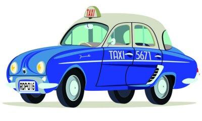 Naklejka Caricatura Renault Dauphine Taxi Sajgon - Wietnam vista frontal y boczne