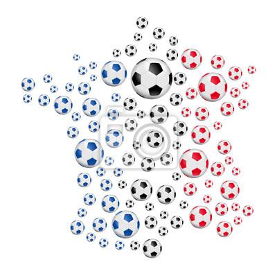 Carte de France - Balony de foot tricolores