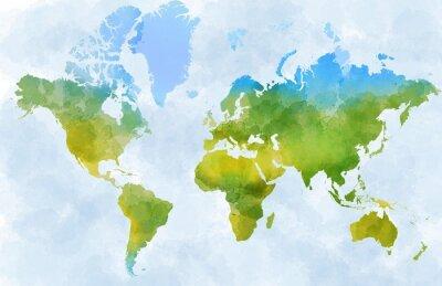 Naklejka Cartina mondo, disegnata illustrata pennellate
