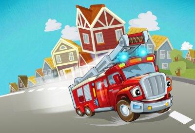 Naklejka cartoon fire brigade driving through the city - illustration for children