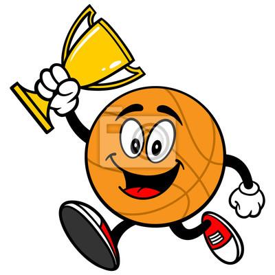 Cartoon Koszykówka Running with Trophy