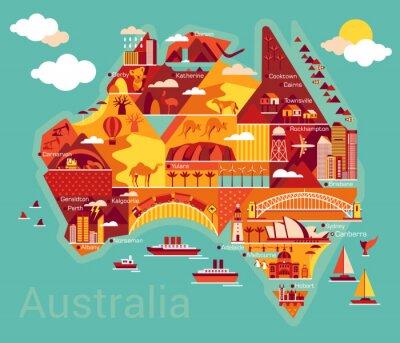 Naklejka Cartoon map of Australia
