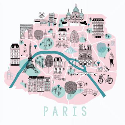 Naklejka Cartoon Mapa Paryża z ikonami Legend. Drukowanie projekcji