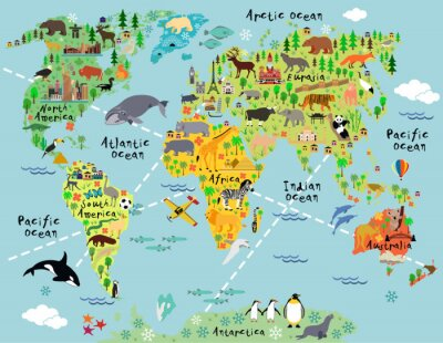 Naklejka Cartoon mapa świata