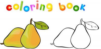 Naklejka Cartoon pear coloring book