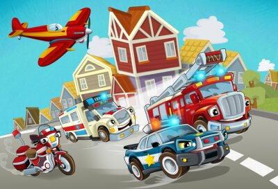 Naklejka cartoon scene with fireman vehicle on the road with police car and ambulance - illustration for children
