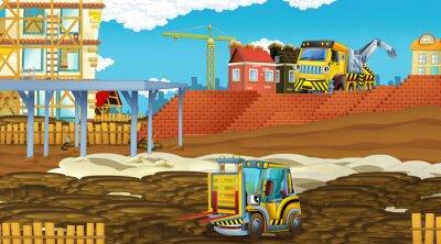 Naklejka cartoon scene with industry cars on construction site - illustration for children