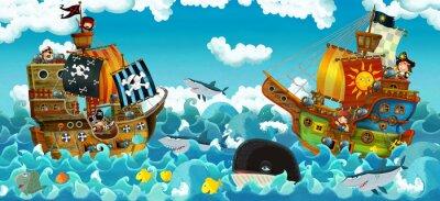 Naklejka cartoon scene with pirates on the sea battle - illustration for the children