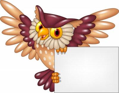 Naklejka Cartoon sowa ptak latający gospodarstwa pusty znak