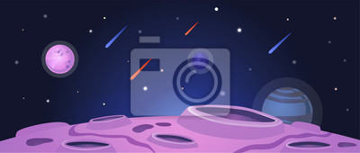 Naklejka Cartoon space banner with purple planet surface with craters on night galaxy sky