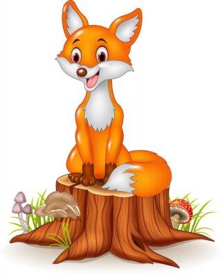 Naklejka Cartoon szczęśliwy lisa siedzącego na pniu