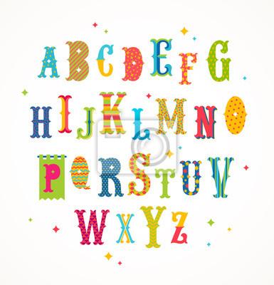 Naklejka Cartoon wielobarwny alfabetu - stylu retro ozdobny krój. ilustracji wektorowych. Zestaw Font.