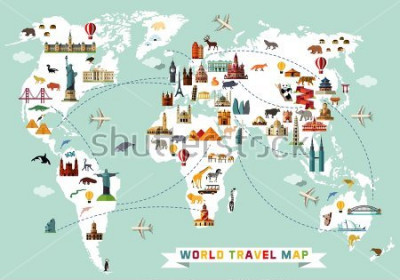Naklejka Cartoon world map with animal and sightseeing attractions. Vector Illustration.