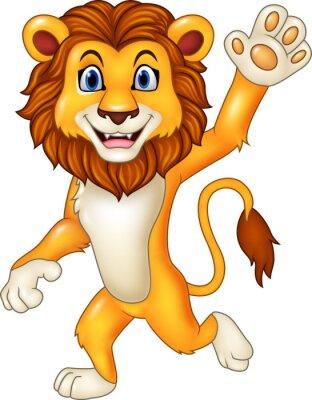 Naklejka Cartoon zabawny lew falowanie