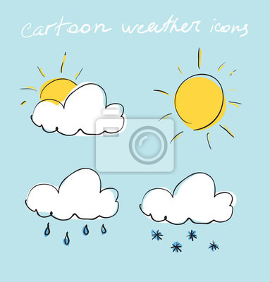 Cartoon zestaw ikon pogody