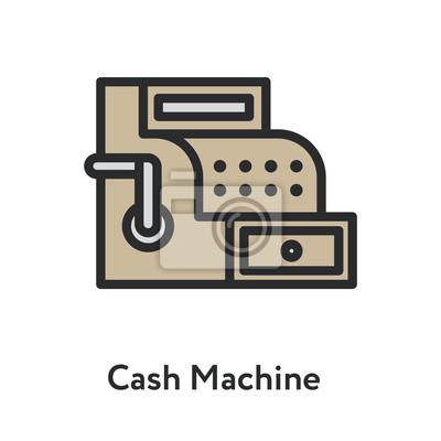 Cash Machine Vintage Antique Retail Shop Minimal Color Flat Line Outline Stroke Icon