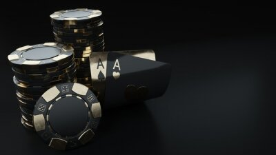 Naklejka Casino Chips And Aces, Modern Black And Golden Isolated On The Black Background. Place For Logo Or Text - 3D Illustration